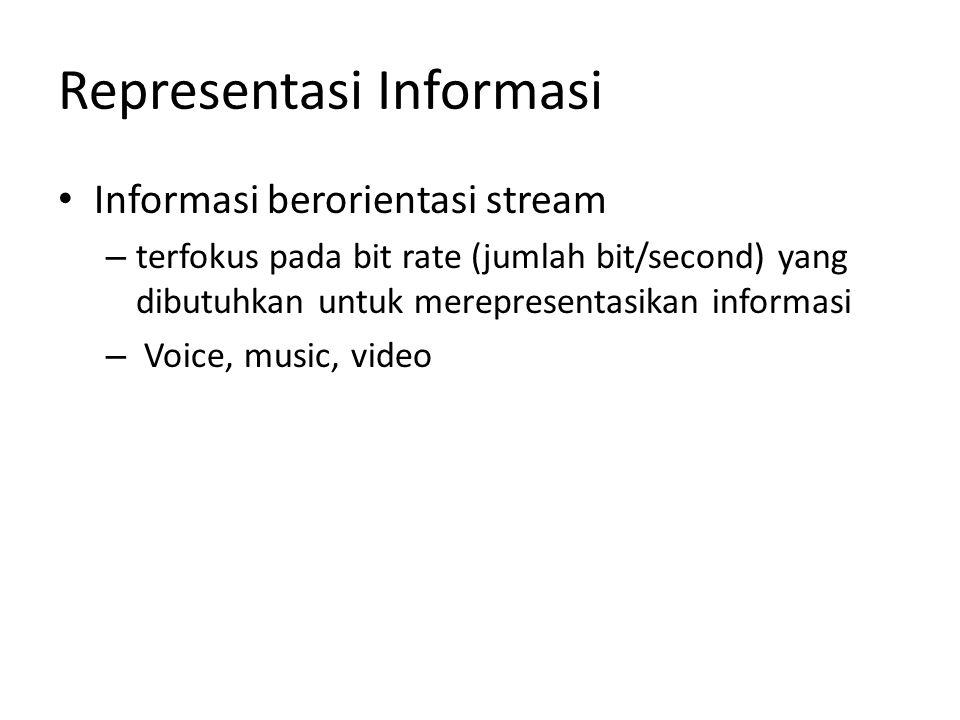 Representasi Informasi Informasi berorientasi stream – terfokus pada bit rate (jumlah bit/second) yang dibutuhkan untuk merepresentasikan informasi – Voice, music, video