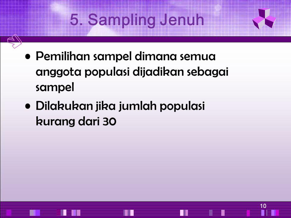 10 Pemilihan sampel dimana semua anggota populasi dijadikan sebagai sampel Dilakukan jika jumlah populasi kurang dari 30 5. Sampling Jenuh