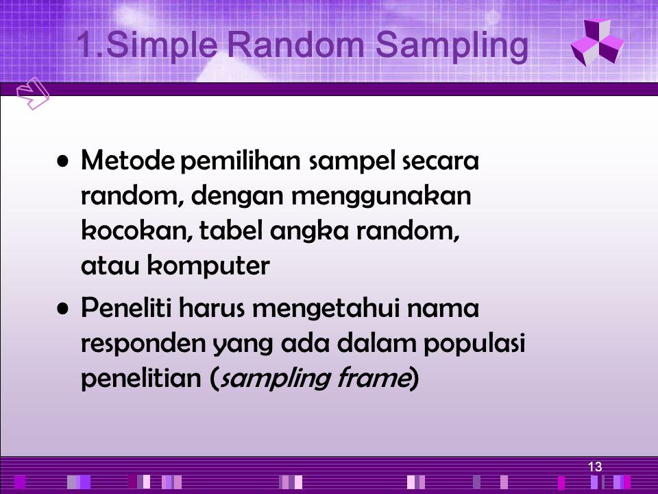 13 Metode pemilihan sampel secara random, dengan menggunakan kocokan, tabel angka random, atau komputer Peneliti harus mengetahui nama responden yang
