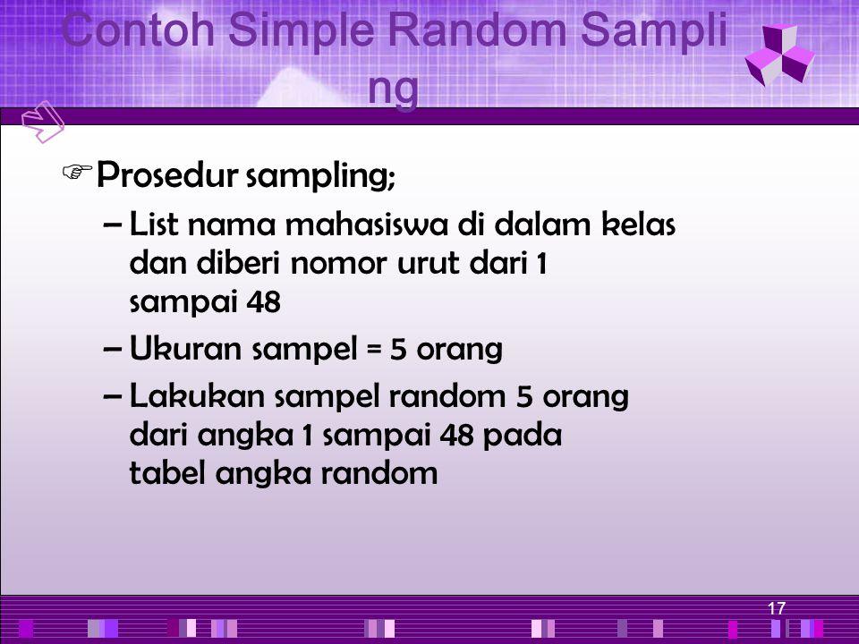 17  Prosedur sampling; –List nama mahasiswa di dalam kelas dan diberi nomor urut dari 1 sampai 48 –Ukuran sampel = 5 orang –Lakukan sampel random 5 o