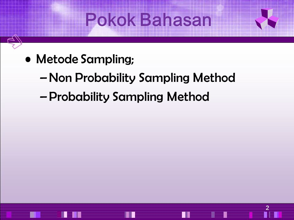 2 Pokok Bahasan Metode Sampling; –Non Probability Sampling Method –Probability Sampling Method