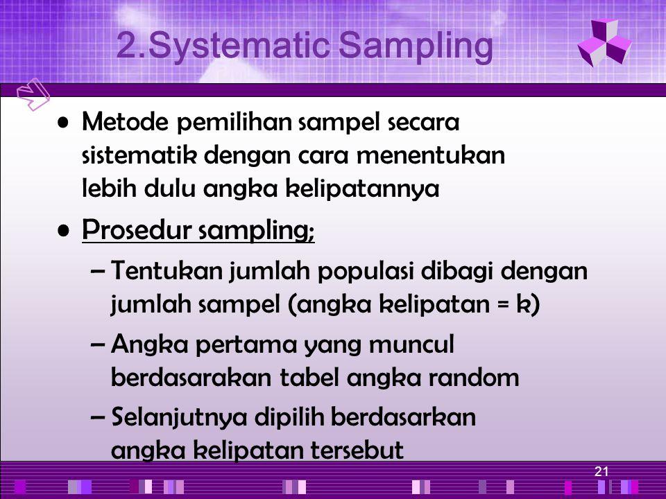 21 Metode pemilihan sampel secara sistematik dengan cara menentukan lebih dulu angka kelipatannya Prosedur sampling; –Tentukan jumlah populasi dibagi