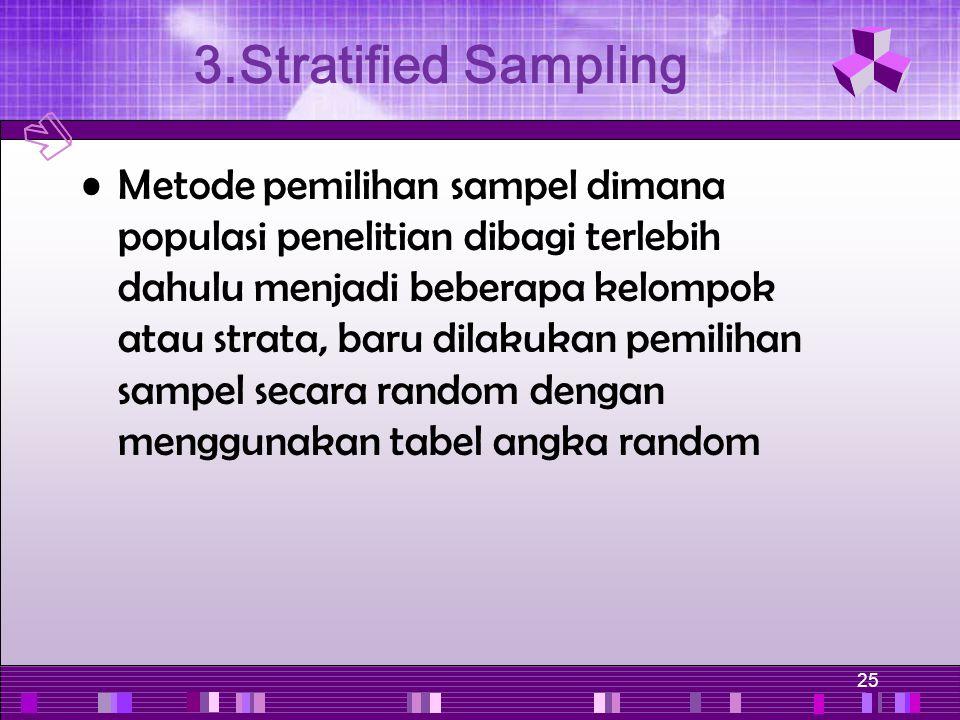 25 Metode pemilihan sampel dimana populasi penelitian dibagi terlebih dahulu menjadi beberapa kelompok atau strata, baru dilakukan pemilihan sampel se