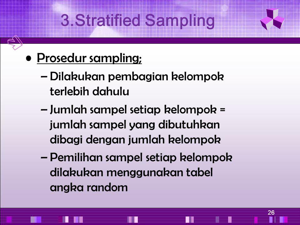 26 Prosedur sampling; –Dilakukan pembagian kelompok terlebih dahulu –Jumlah sampel setiap kelompok = jumlah sampel yang dibutuhkan dibagi dengan jumla