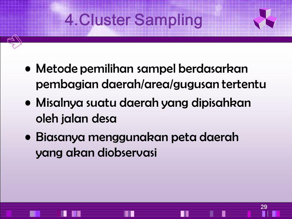 29 Metode pemilihan sampel berdasarkan pembagian daerah/area/gugusan tertentu Misalnya suatu daerah yang dipisahkan oleh jalan desa Biasanya menggunak