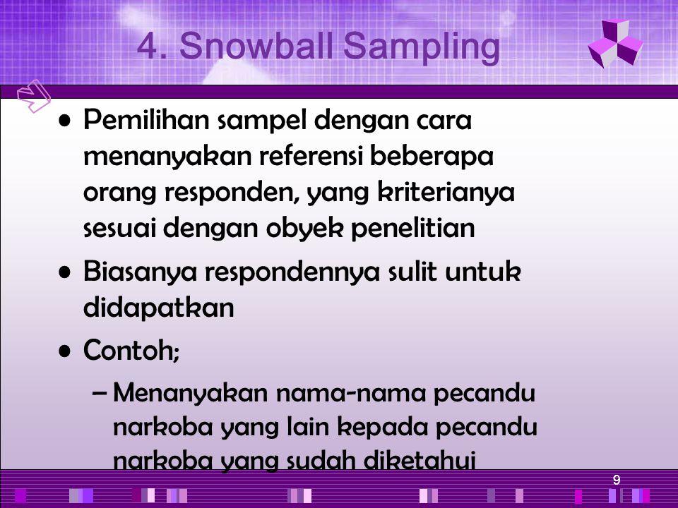 9 Pemilihan sampel dengan cara menanyakan referensi beberapa orang responden, yang kriterianya sesuai dengan obyek penelitian Biasanya respondennya su