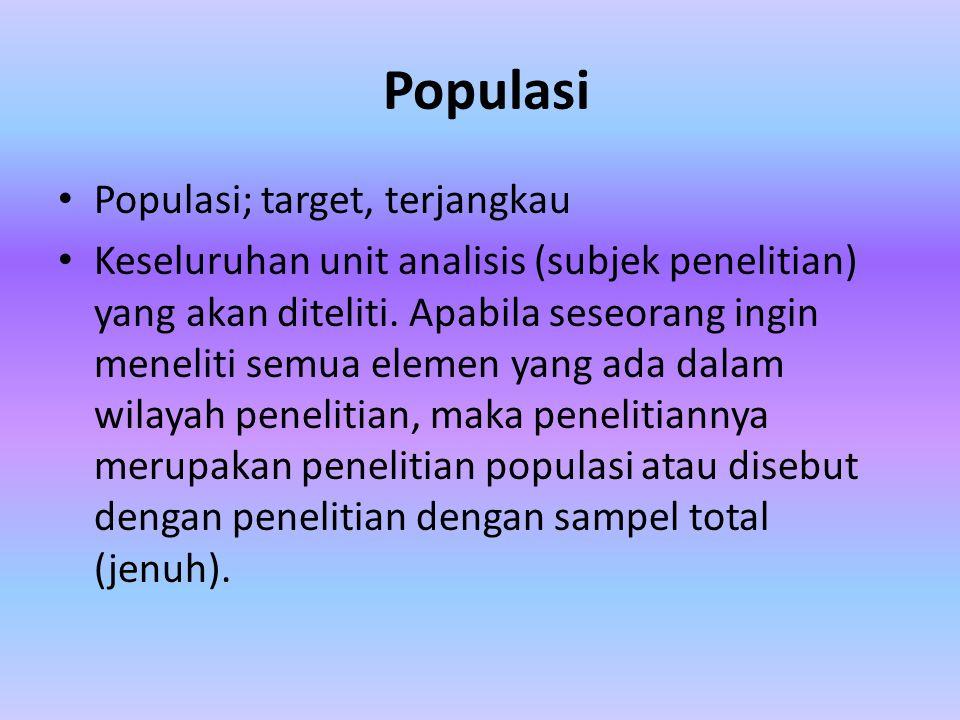 Populasi Populasi; target, terjangkau Keseluruhan unit analisis (subjek penelitian) yang akan diteliti. Apabila seseorang ingin meneliti semua elemen