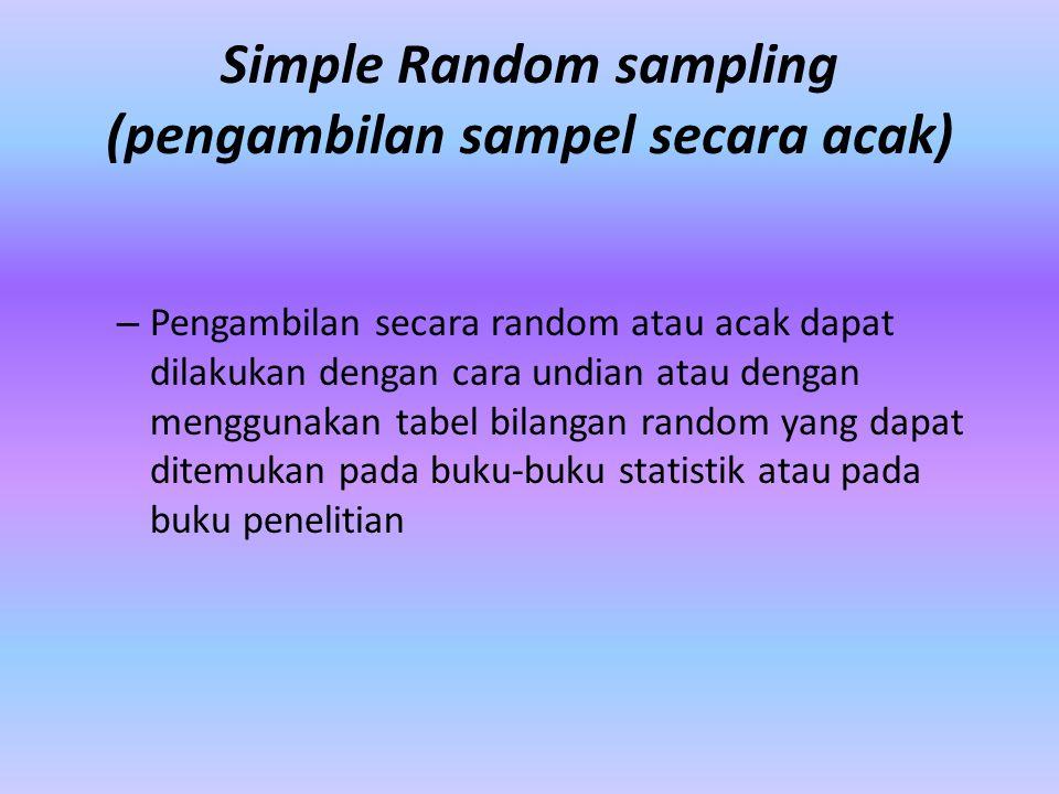 Simple Random sampling (pengambilan sampel secara acak) – Pengambilan secara random atau acak dapat dilakukan dengan cara undian atau dengan menggunak