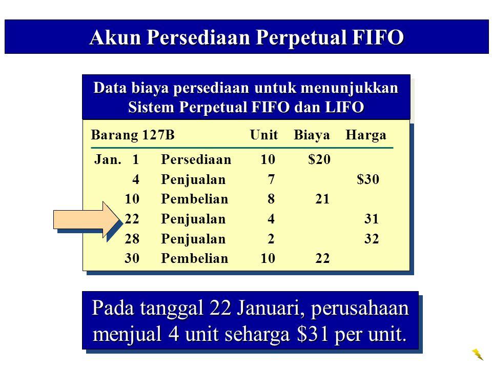 Data biaya persediaan untuk menunjukkan Sistem Perpetual FIFO dan LIFO Data biaya persediaan untuk menunjukkan Sistem Perpetual FIFO dan LIFO Cost of