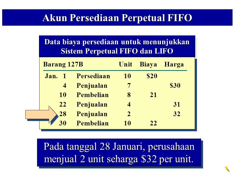 Akun Persediaan Perpetual FIFO Pada tanggal 28 Januari, perusahaan menjual 2 unit seharga $32 per unit. Data biaya persediaan untuk menunjukkan Sistem
