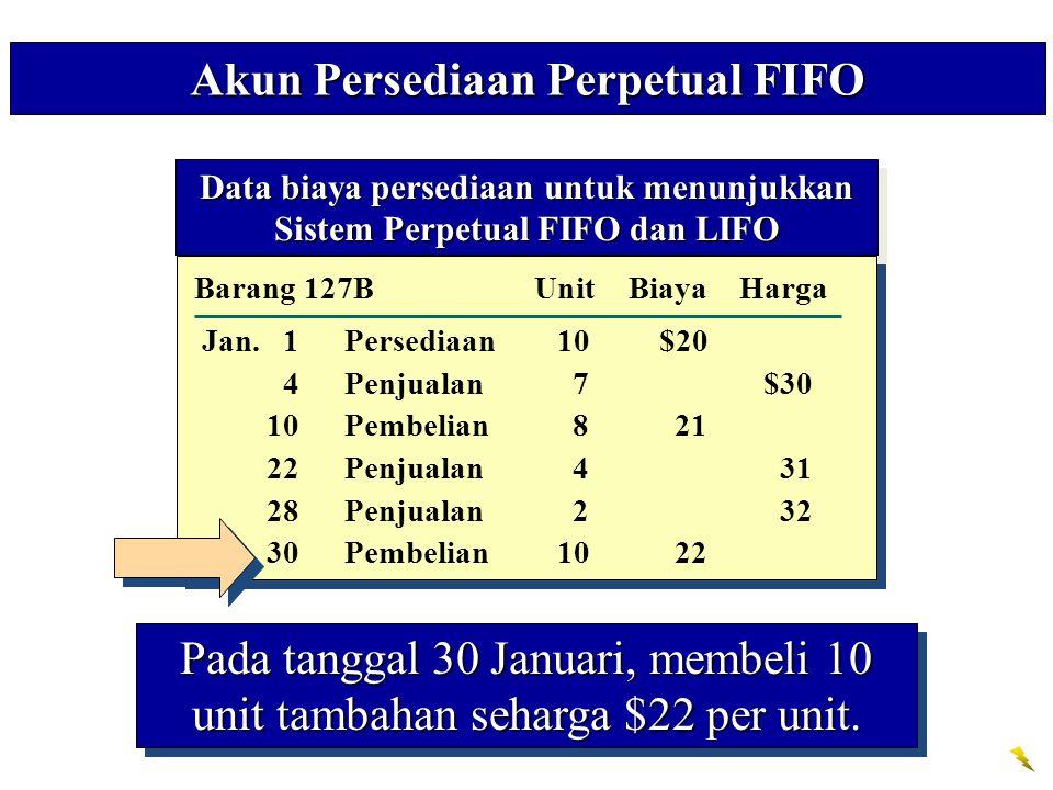 Akun Persediaan Perpetual FIFO Pada tanggal 30 Januari, membeli 10 unit tambahan seharga $22 per unit. Data biaya persediaan untuk menunjukkan Sistem