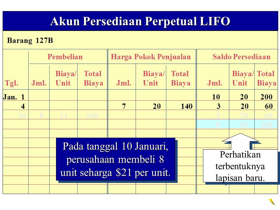 Barang 127B Akun Persediaan Perpetual LIFO PembelianHarga Pokok PenjualanSaldo Persediaan Biaya/TotalBiaya/TotalBiaya/ Total Tgl. Jml.Unit Biaya Jml.U
