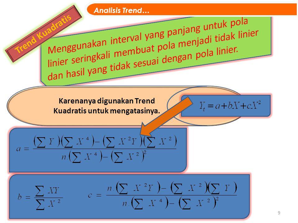 9 Trend Kuadratis UKURAN LETAK - DESIL Karenanya digunakan Trend Kuadratis untuk mengatasinya. Analisis Trend…