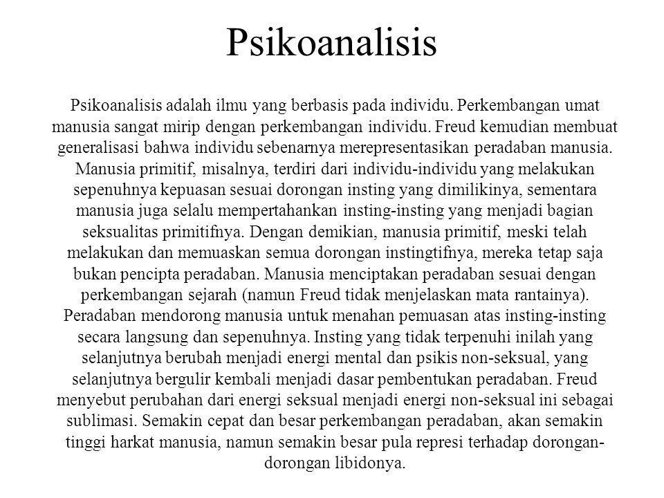 Psikoanalisis Psikoanalisis adalah ilmu yang berbasis pada individu. Perkembangan umat manusia sangat mirip dengan perkembangan individu. Freud kemudi