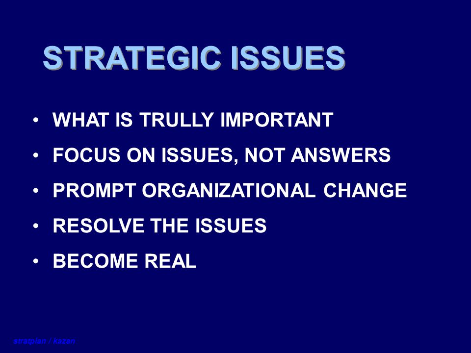 STRATEGIC ISSUES WHAT IS TRULLY IMPORTANT FOCUS ON ISSUES, NOT ANSWERS PROMPT ORGANIZATIONAL CHANGE RESOLVE THE ISSUES BECOME REAL stratplan / kazan