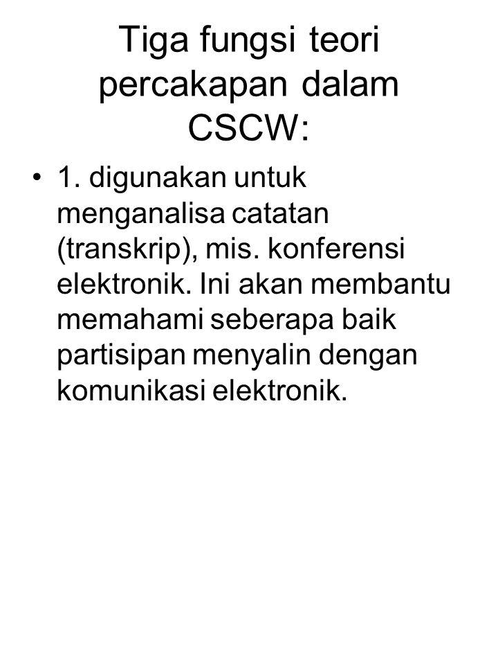 Tiga fungsi teori percakapan dalam CSCW: 1. digunakan untuk menganalisa catatan (transkrip), mis. konferensi elektronik. Ini akan membantu memahami se