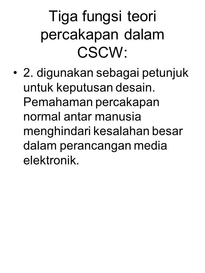 Tiga fungsi teori percakapan dalam CSCW: 2. digunakan sebagai petunjuk untuk keputusan desain. Pemahaman percakapan normal antar manusia menghindari k