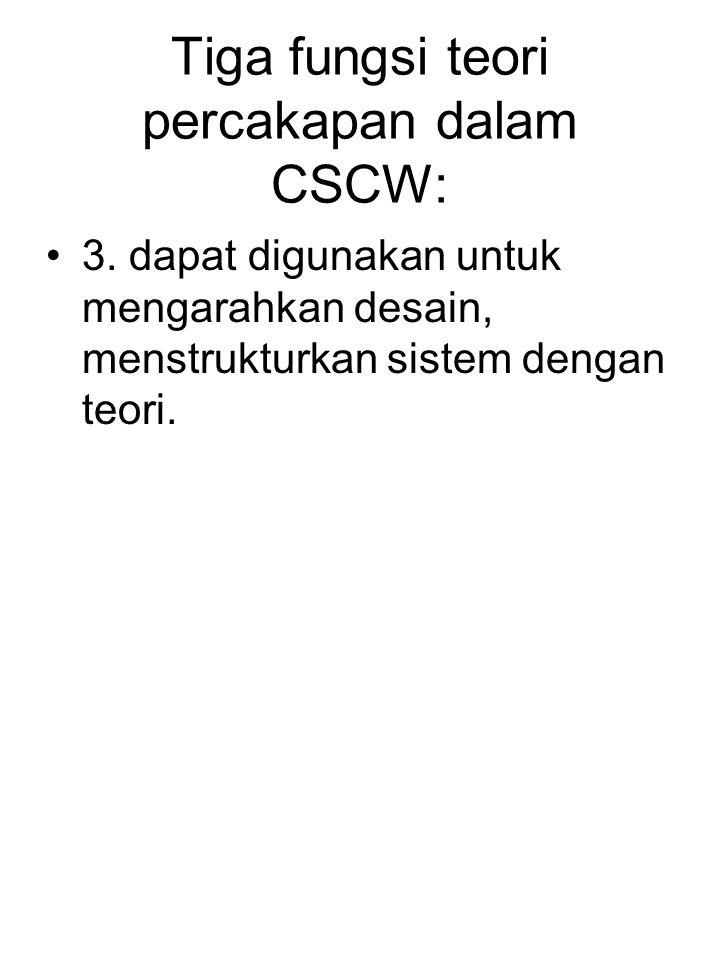 Tiga fungsi teori percakapan dalam CSCW: 3. dapat digunakan untuk mengarahkan desain, menstrukturkan sistem dengan teori.