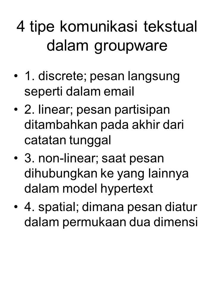 4 tipe komunikasi tekstual dalam groupware 1. discrete; pesan langsung seperti dalam email 2. linear; pesan partisipan ditambahkan pada akhir dari cat