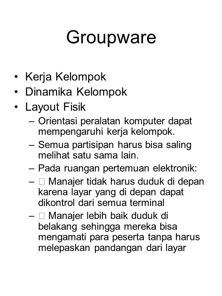 Groupware Kerja Kelompok Dinamika Kelompok Layout Fisik –Orientasi peralatan komputer dapat mempengaruhi kerja kelompok. –Semua partisipan harus bisa