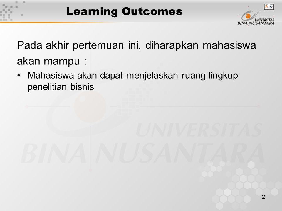 2 Learning Outcomes Pada akhir pertemuan ini, diharapkan mahasiswa akan mampu : Mahasiswa akan dapat menjelaskan ruang lingkup penelitian bisnis