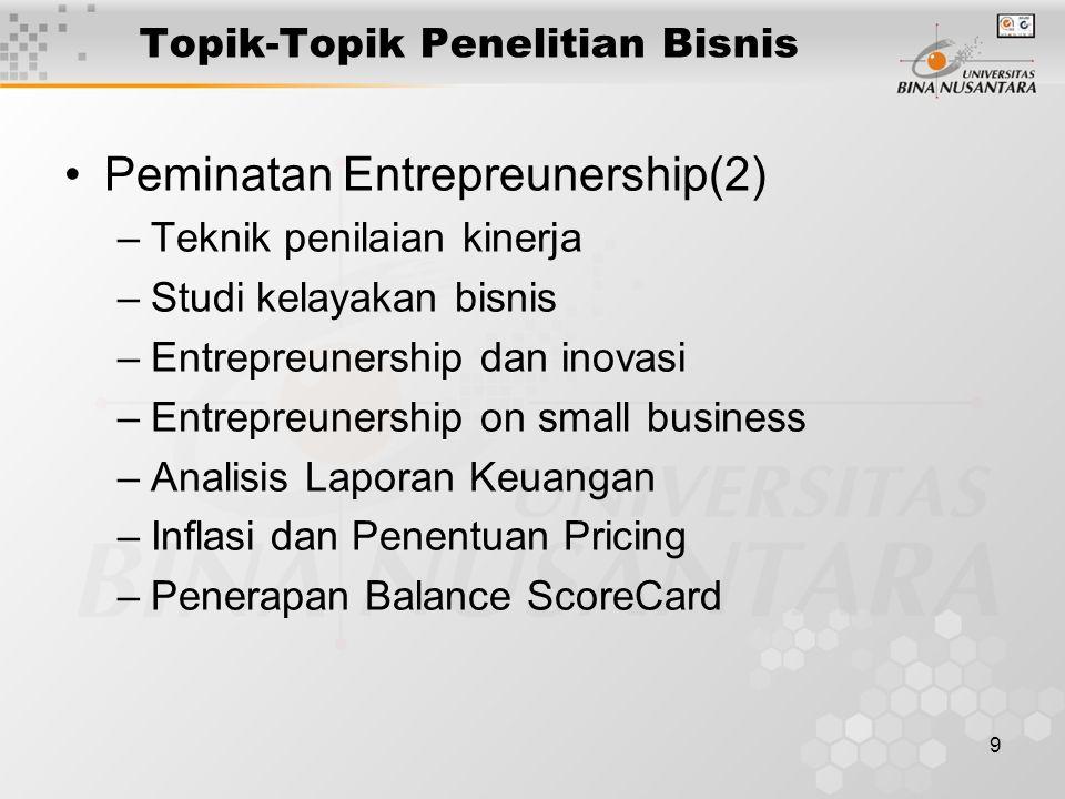 9 Topik-Topik Penelitian Bisnis Peminatan Entrepreunership(2) –Teknik penilaian kinerja –Studi kelayakan bisnis –Entrepreunership dan inovasi –Entrepr