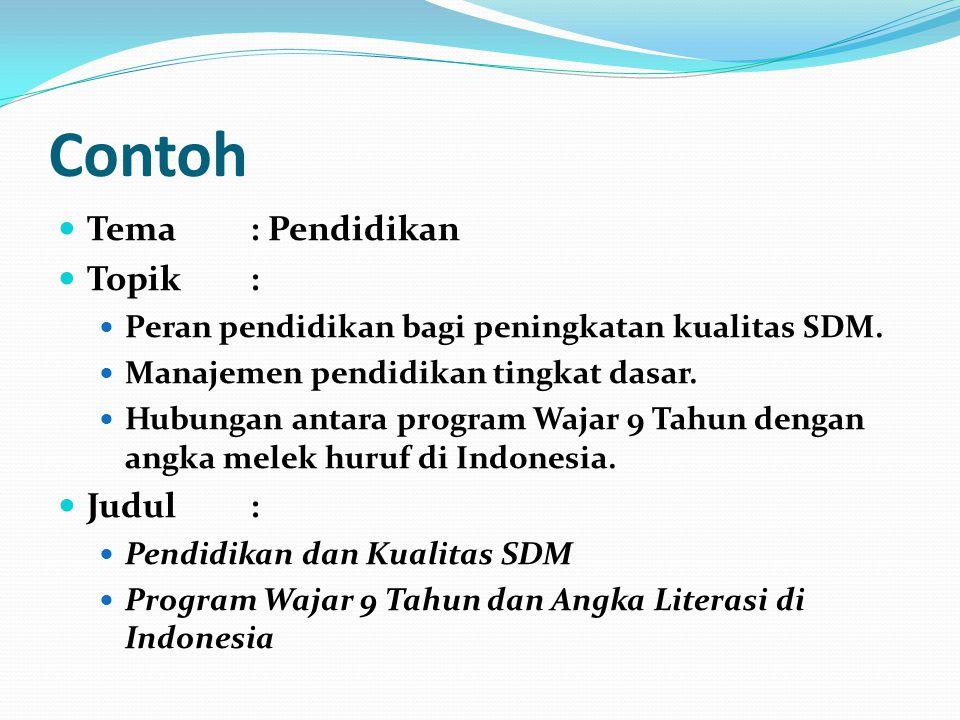 Contoh Tema: Pendidikan Topik: Peran pendidikan bagi peningkatan kualitas SDM. Manajemen pendidikan tingkat dasar. Hubungan antara program Wajar 9 Tah