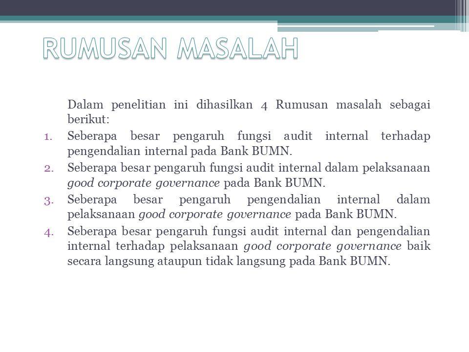 Pengaruh Audit Internal dan Pengendalian Internal Terhadap Pelaksanaan Good Corporate Governance pada Bank BUMN Hasil penelitian menunjukkan bahwa besarnya kontribusi atau pengaruh dari audit internal dan pengendalian internal secara bersama-sama terhadap pelaksanaan good corporate governance pada Bank BUMN yang terdaftar di bursa Efek Indonesia sebesar 66,2%, sedangkan sisanya sebesar 33,8% merupakan pengaruh faktor lain diluar kedua variabel tersebut, seperti komite audit.