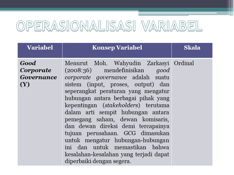 VariabelKonsep VariabelSkala Good Corporate Governance (Y) Menurut Moh.