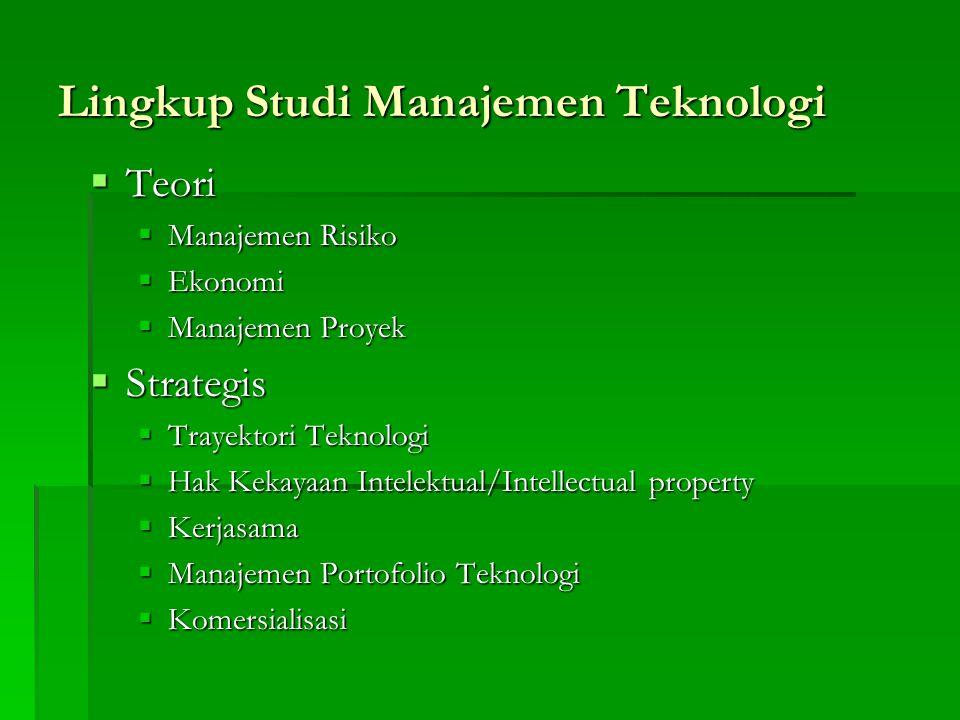 Lingkup Studi Manajemen Teknologi  Teori  Manajemen Risiko  Ekonomi  Manajemen Proyek  Strategis  Trayektori Teknologi  Hak Kekayaan Intelektua