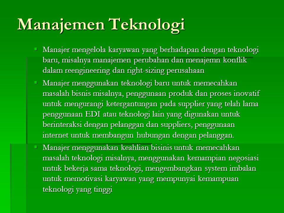 Manajemen Teknologi  Manajer mengelola karyawan yang berhadapan dengan teknologi baru, misalnya manajemen perubahan dan menajemn konflik dalam reengi