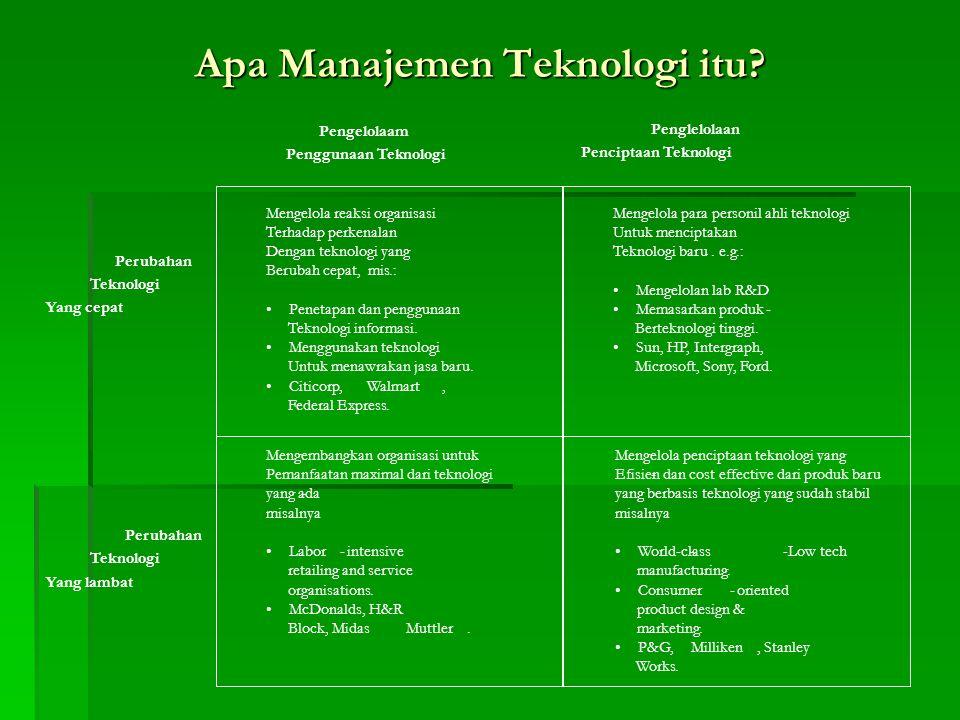 Apa Manajemen Teknologi itu? Pengelolaam Penggunaan Teknologi Mengembangkan organisasi untuk Pemanfaatan maximal dari teknologi yang ada- misalnya Lab