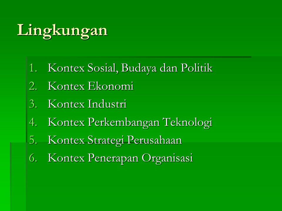 Lingkungan 1.Kontex Sosial, Budaya dan Politik 2.Kontex Ekonomi 3.Kontex Industri 4.Kontex Perkembangan Teknologi 5.Kontex Strategi Perusahaan 6.Konte