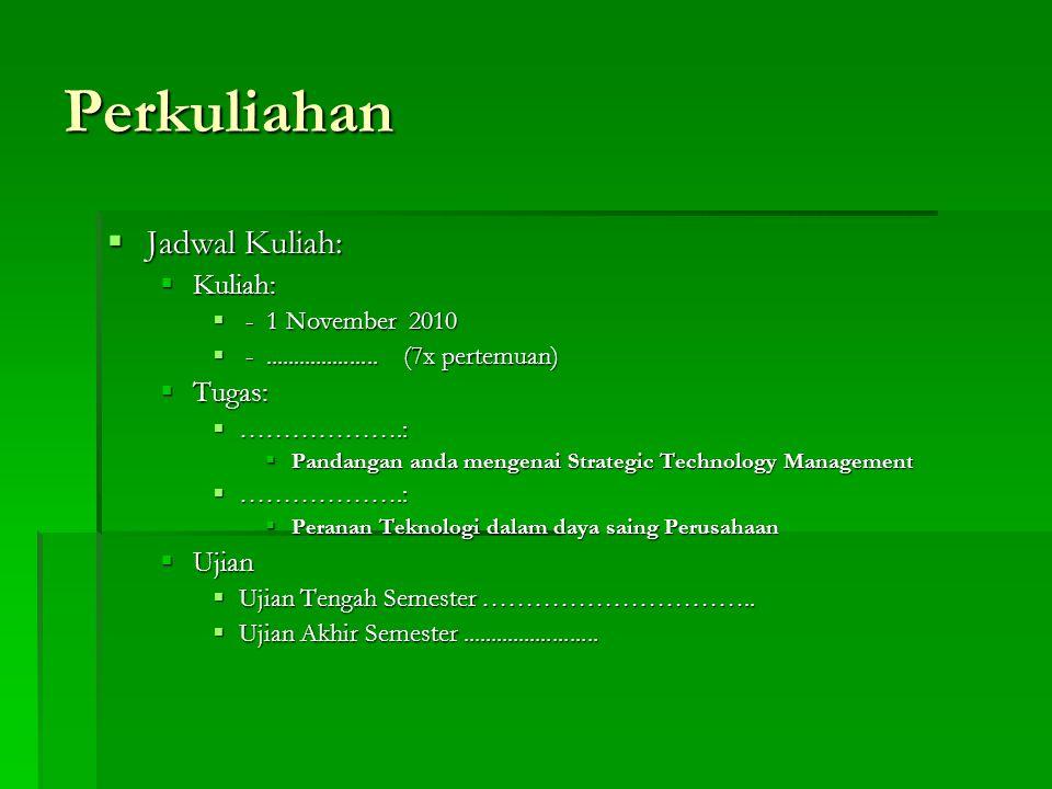 Perkuliahan  Jadwal Kuliah:  Kuliah:  - 1 November 2010  -....................