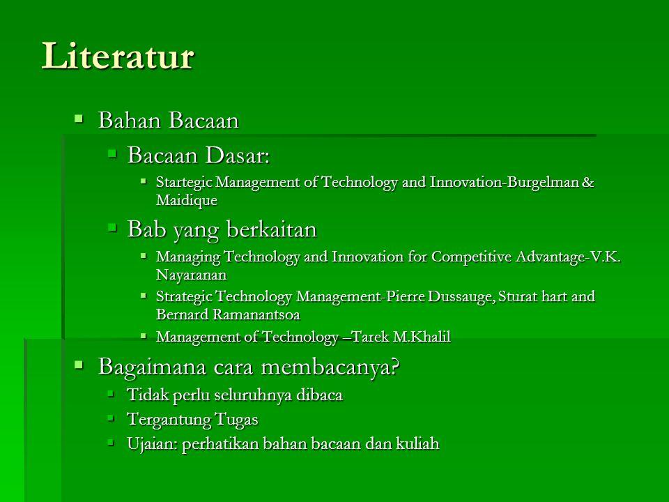 Literatur  Bahan Bacaan  Bacaan Dasar:  Startegic Management of Technology and Innovation-Burgelman & Maidique  Bab yang berkaitan  Managing Technology and Innovation for Competitive Advantage-V.K.