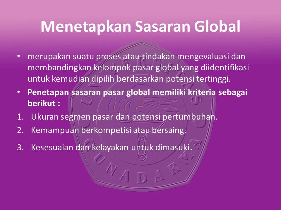 Menetapkan Sasaran Global merupakan suatu proses atau tindakan mengevaluasi dan membandingkan kelompok pasar global yang diidentifikasi untuk kemudian dipilih berdasarkan potensi tertinggi.