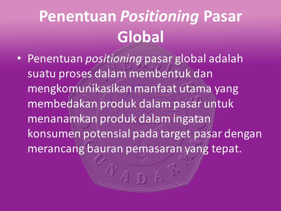 Penentuan Positioning Pasar Global Penentuan positioning pasar global adalah suatu proses dalam membentuk dan mengkomunikasikan manfaat utama yang membedakan produk dalam pasar untuk menanamkan produk dalam ingatan konsumen potensial pada target pasar dengan merancang bauran pemasaran yang tepat.