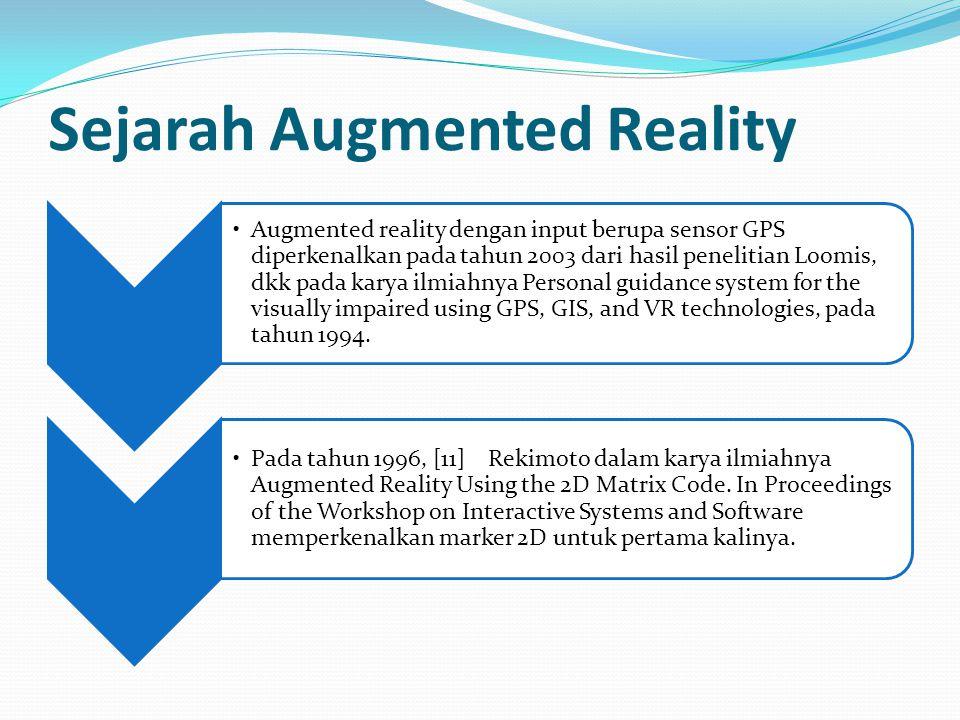 Sejarah Augmented Reality Augmented reality dengan input berupa sensor GPS diperkenalkan pada tahun 2003 dari hasil penelitian Loomis, dkk pada karya ilmiahnya Personal guidance system for the visually impaired using GPS, GIS, and VR technologies, pada tahun 1994.