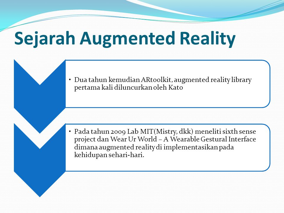 Sejarah Augmented Reality Dua tahun kemudian ARtoolkit, augmented reality library pertama kali diluncurkan oleh Kato Pada tahun 2009 Lab MIT(Mistry, dkk) meneliti sixth sense project dan Wear Ur World – A Wearable Gestural Interface dimana augmented reality di implementasikan pada kehidupan sehari-hari.