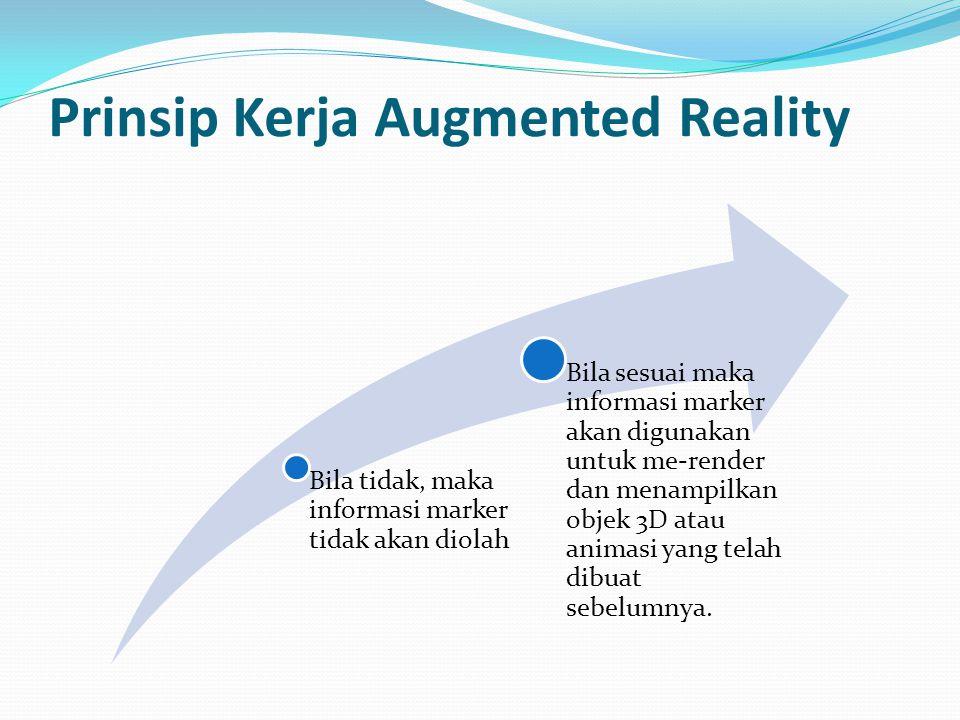 Prinsip Kerja Augmented Reality Bila tidak, maka informasi marker tidak akan diolah Bila sesuai maka informasi marker akan digunakan untuk me-render dan menampilkan objek 3D atau animasi yang telah dibuat sebelumnya.