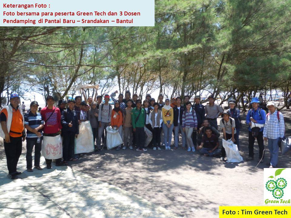 Keterangan Foto : Foto bersama para peserta Green Tech dan 3 Dosen Pendamping di Pantai Baru – Srandakan – Bantul Foto : Tim Green Tech