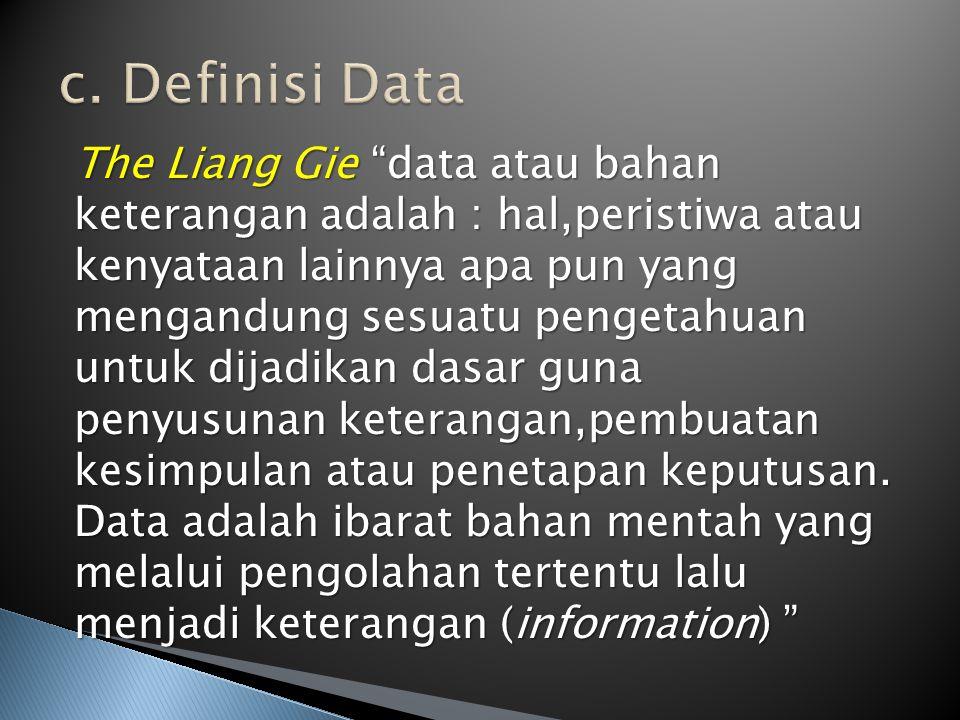 "The Liang Gie ""data atau bahan keterangan adalah : hal,peristiwa atau kenyataan lainnya apa pun yang mengandung sesuatu pengetahuan untuk dijadikan da"