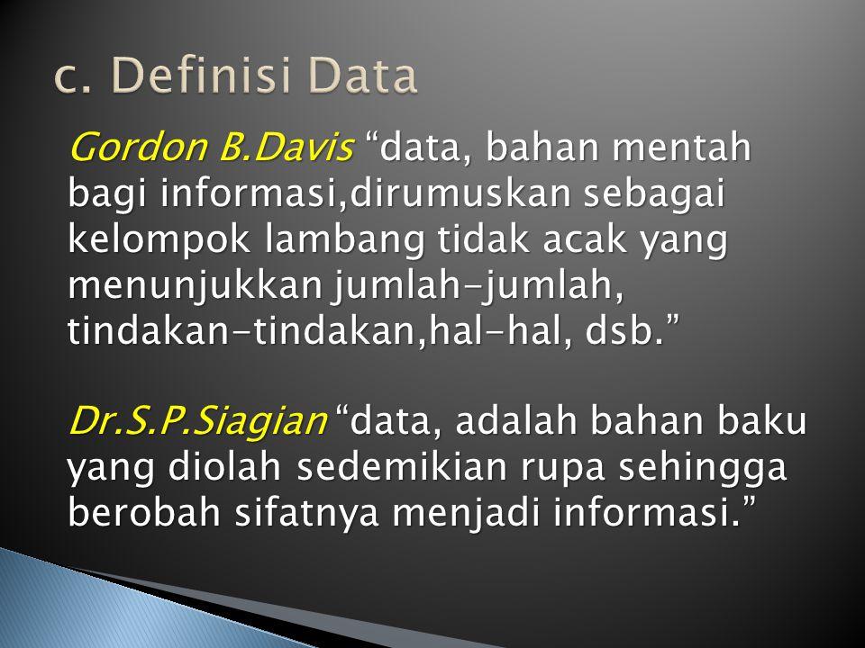 """Gordon B.Davis """"data, bahan mentah bagi informasi,dirumuskan sebagai kelompok lambang tidak acak yang menunjukkan jumlah-jumlah, tindakan-tindakan,hal"""