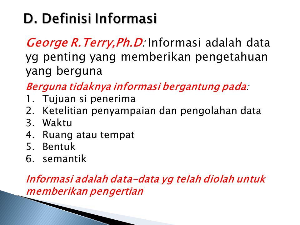 D. Definisi Informasi George R.Terry,Ph.D: Informasi adalah data yg penting yang memberikan pengetahuan yang berguna Berguna tidaknya informasi bergan
