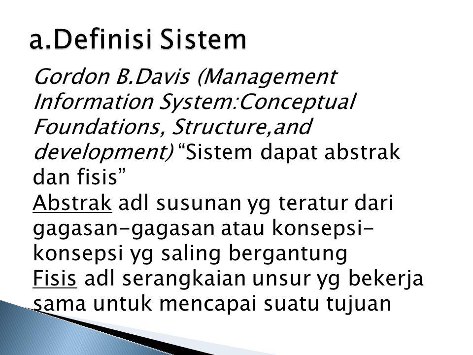 a.Definisi Sistem Norman L.Enger (Management Standards for Developing Information System) suatu sistem terdiri atas kegiatan-kegiatan yg berhubungan guna mencapai tujuan-tujuan perusahaan seperti pengendalian inventaris atau penjadwalan produksi