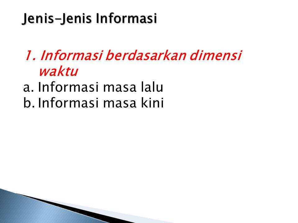 Jenis-Jenis Informasi 1. Informasi berdasarkan dimensi waktu a.Informasi masa lalu b.Informasi masa kini