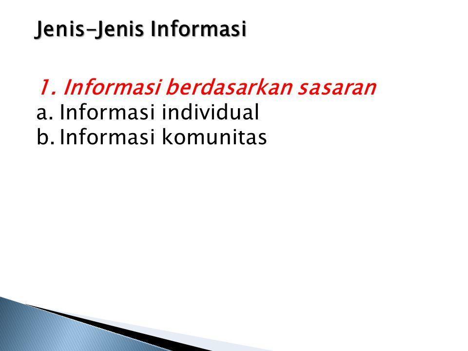 Jenis-Jenis Informasi 1. Informasi berdasarkan sasaran a.Informasi individual b.Informasi komunitas