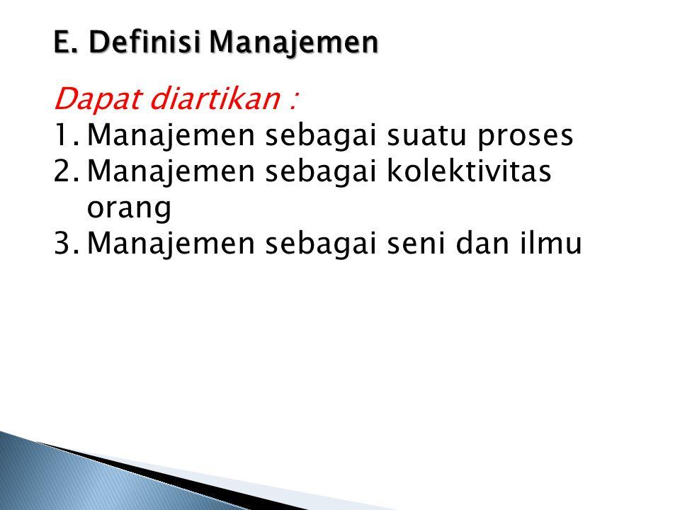 E. Definisi Manajemen Dapat diartikan : 1.Manajemen sebagai suatu proses 2.Manajemen sebagai kolektivitas orang 3.Manajemen sebagai seni dan ilmu
