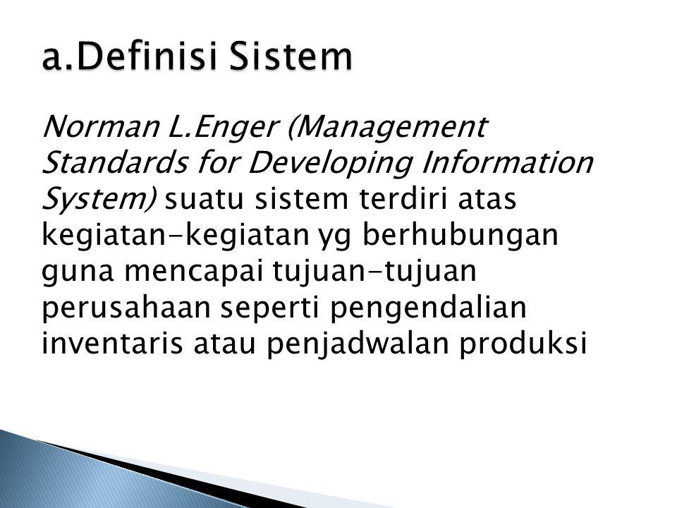 a.Definisi Sistem Norman L.Enger (Management Standards for Developing Information System) suatu sistem terdiri atas kegiatan-kegiatan yg berhubungan g