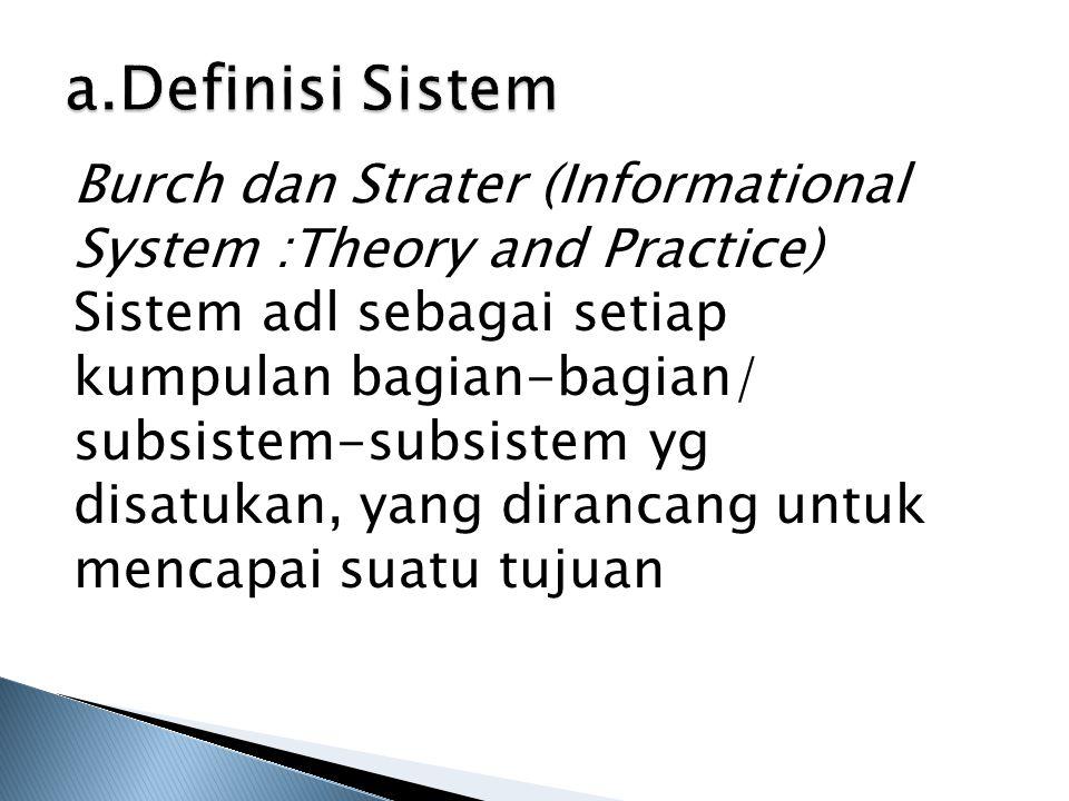 a.Definisi Sistem Burch dan Strater (Informational System :Theory and Practice) Sistem adl sebagai setiap kumpulan bagian-bagian/ subsistem-subsistem